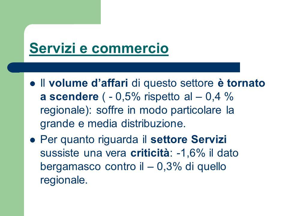 Servizi e commercio Il volume daffari di questo settore è tornato a scendere ( - 0,5% rispetto al – 0,4 % regionale): soffre in modo particolare la gr