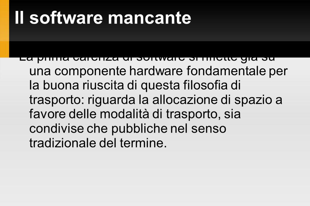 Il software mancante La prima carenza di software si riflette già su una componente hardware fondamentale per la buona riuscita di questa filosofia di