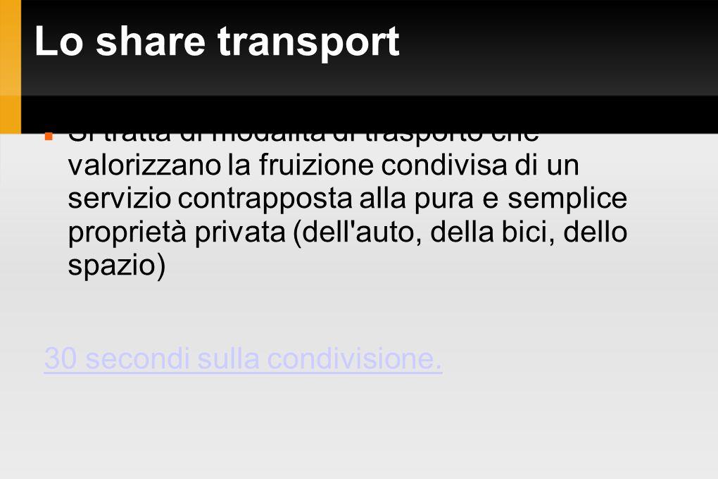 Lo share transport Si tratta di modalità di trasporto che valorizzano la fruizione condivisa di un servizio contrapposta alla pura e semplice propriet