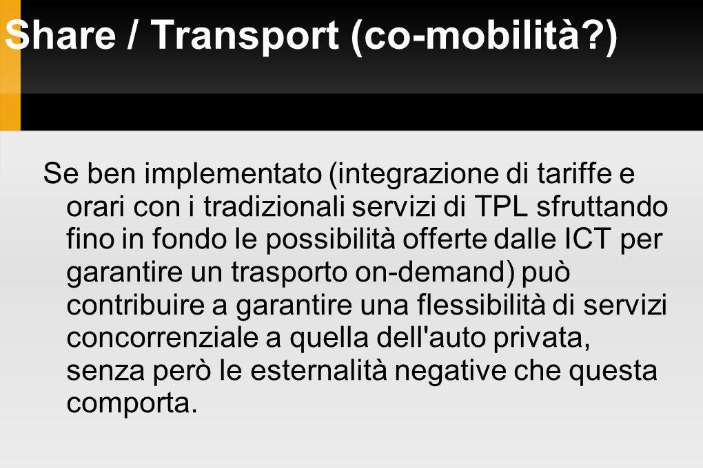 Share / Transport (co-mobilità?) Se ben implementato (integrazione di tariffe e orari con i tradizionali servizi di TPL sfruttando fino in fondo le po