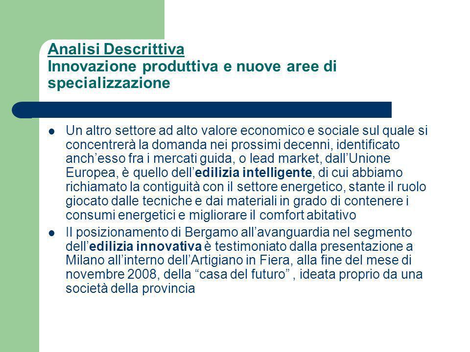 Analisi Descrittiva Innovazione produttiva e nuove aree di specializzazione Un altro settore ad alto valore economico e sociale sul quale si concentrerà la domanda nei prossimi decenni, identificato anchesso fra i mercati guida, o lead market, dallUnione Europea, è quello delledilizia intelligente, di cui abbiamo richiamato la contiguità con il settore energetico, stante il ruolo giocato dalle tecniche e dai materiali in grado di contenere i consumi energetici e migliorare il comfort abitativo Il posizionamento di Bergamo allavanguardia nel segmento delledilizia innovativa è testimoniato dalla presentazione a Milano allinterno dellArtigiano in Fiera, alla fine del mese di novembre 2008, della casa del futuro, ideata proprio da una società della provincia