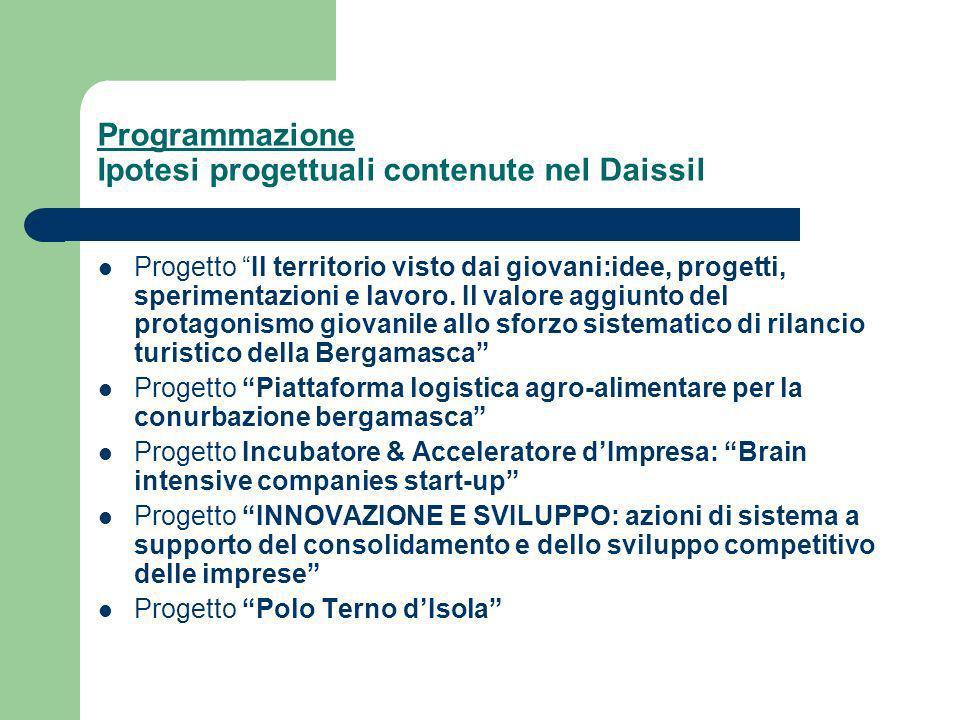 Programmazione Ipotesi progettuali contenute nel Daissil Progetto Il territorio visto dai giovani:idee, progetti, sperimentazioni e lavoro.
