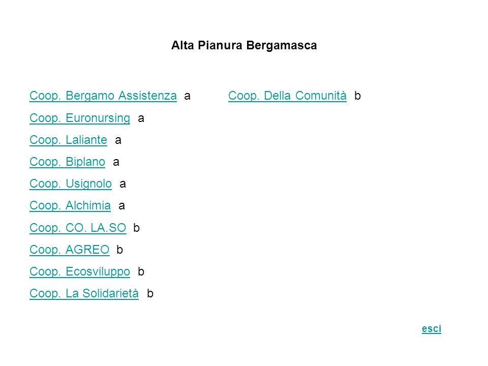 Alta Pianura Bergamasca Coop. Bergamo AssistenzaCoop. Bergamo Assistenza a Coop. Della Comunità bCoop. Della Comunità Coop. EuronursingCoop. Euronursi
