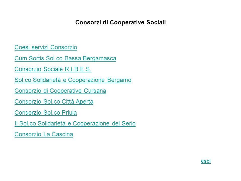 Consorzi di Cooperative Sociali Coesi servizi Consorzio Cum Sortis Sol.co Bassa Bergamasca Consorzio Sociale R.I.B.E.S. Sol.co Solidarietà e Cooperazi