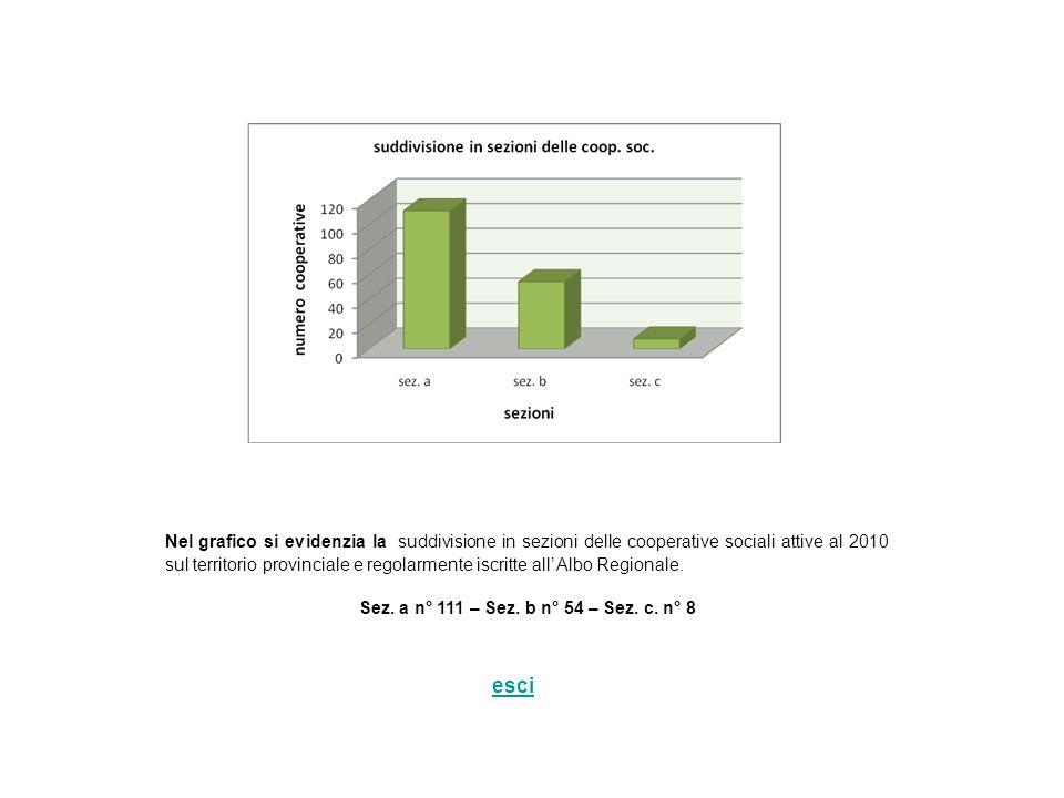 Nel grafico si evidenzia la suddivisione in sezioni delle cooperative sociali attive al 2010 sul territorio provinciale e regolarmente iscritte all Al