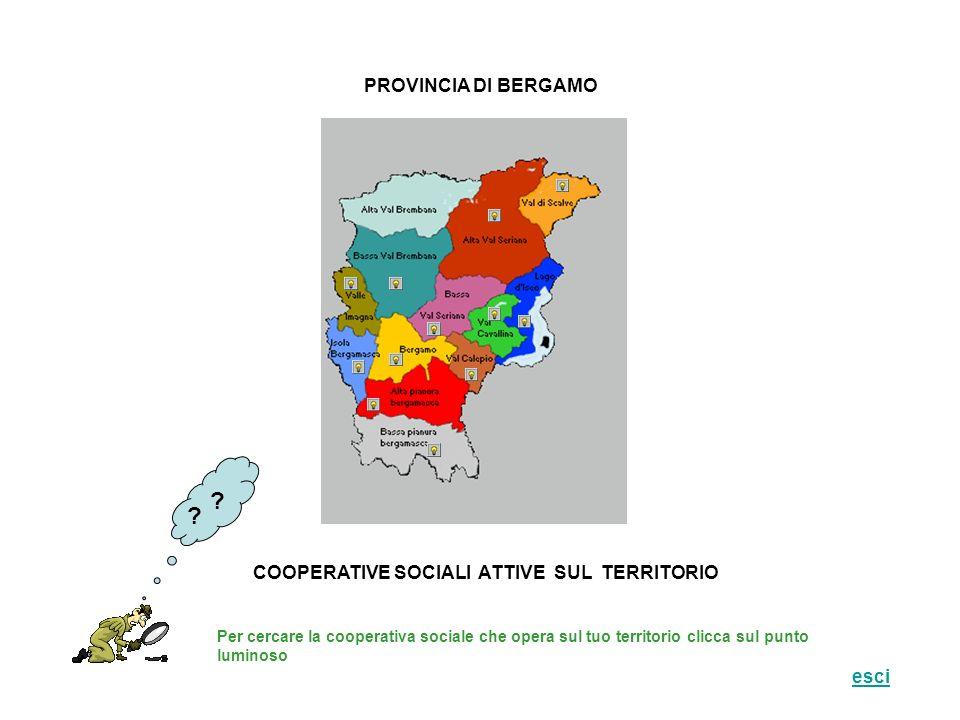 PROVINCIA DI BERGAMO COOPERATIVE SOCIALI ATTIVE SUL TERRITORIO Per cercare la cooperativa sociale che opera sul tuo territorio clicca sul punto luminoso .