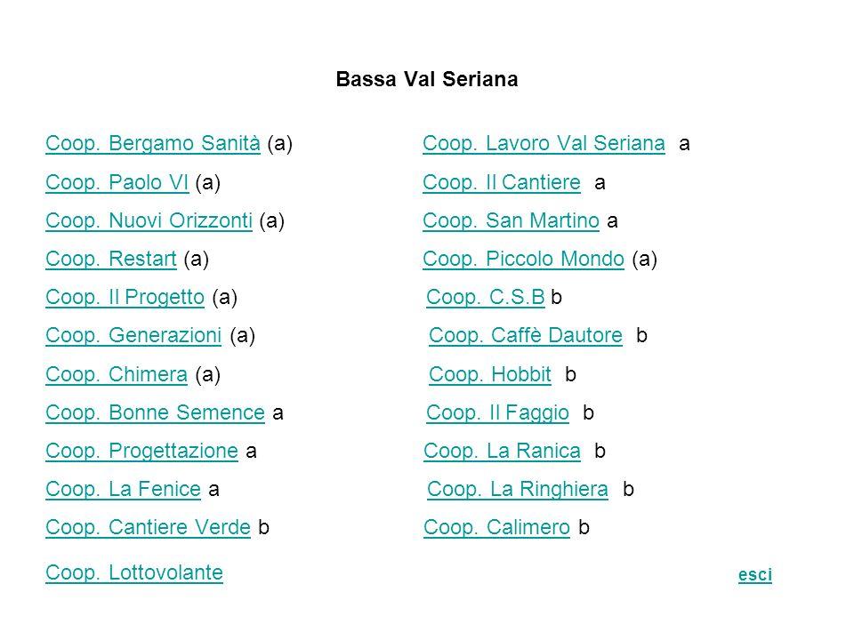 Bassa Val Seriana Coop. Bergamo SanitàCoop. Bergamo Sanità (a) Coop. Lavoro Val Seriana aCoop. Lavoro Val Seriana Coop. Paolo VICoop. Paolo VI (a) Coo