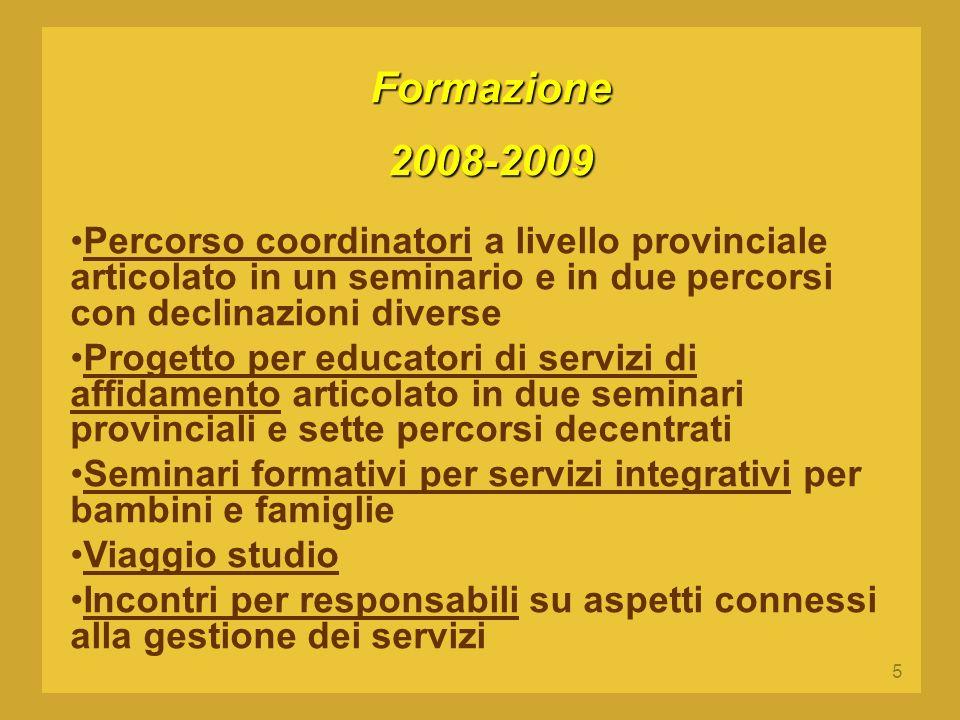 5 Formazione2008-2009 Percorso coordinatori a livello provinciale articolato in un seminario e in due percorsi con declinazioni diverse Progetto per e
