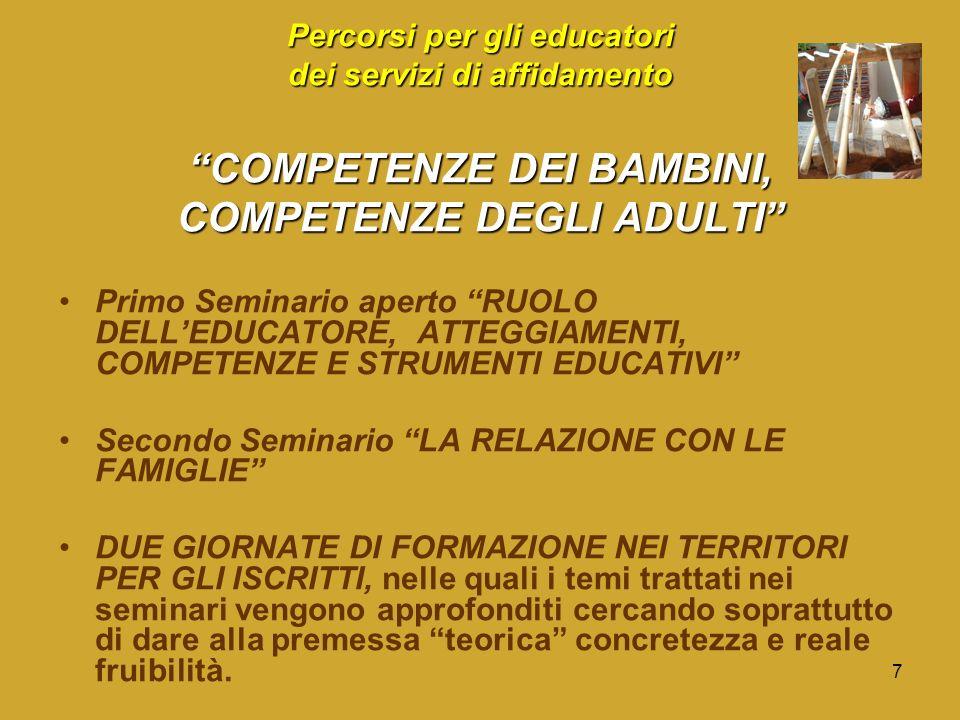 7 Percorsi per gli educatori dei servizi di affidamento COMPETENZE DEI BAMBINI, COMPETENZE DEGLI ADULTI Primo Seminario aperto RUOLO DELLEDUCATORE, ATTEGGIAMENTI, COMPETENZE E STRUMENTI EDUCATIVI Secondo Seminario LA RELAZIONE CON LE FAMIGLIE DUE GIORNATE DI FORMAZIONE NEI TERRITORI PER GLI ISCRITTI, nelle quali i temi trattati nei seminari vengono approfonditi cercando soprattutto di dare alla premessa teorica concretezza e reale fruibilità.