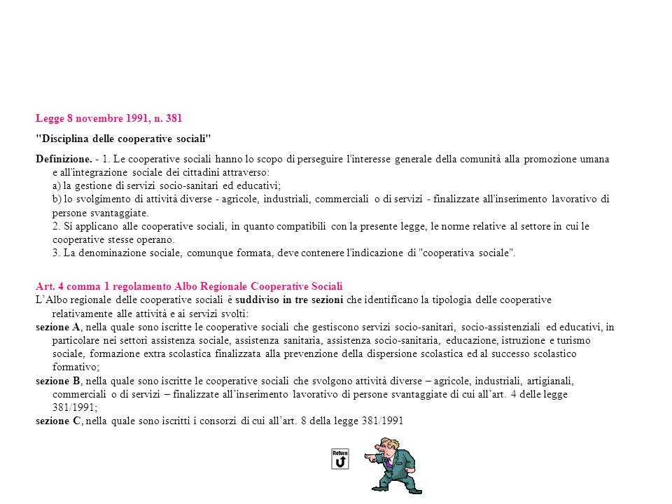 In data 14 novembre 2009 è entrato in vigore il nuovo Regolamento dellAlbo Regionale delle Cooperative Sociali ai sensi dellArt.