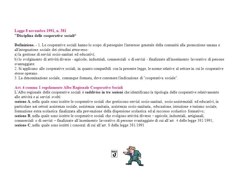 Legge 8 novembre 1991, n.381 Disciplina delle cooperative sociali Definizione.
