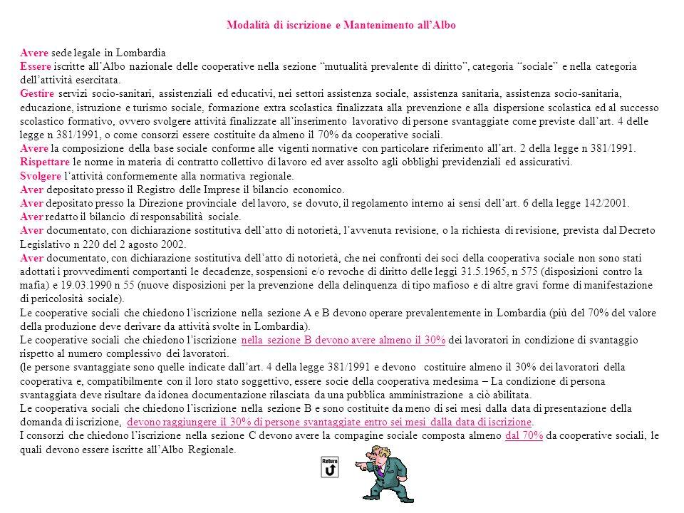 Modalità di iscrizione e Mantenimento allAlbo Avere sede legale in Lombardia Essere iscritte allAlbo nazionale delle cooperative nella sezione mutualità prevalente di diritto, categoria sociale e nella categoria dellattività esercitata.