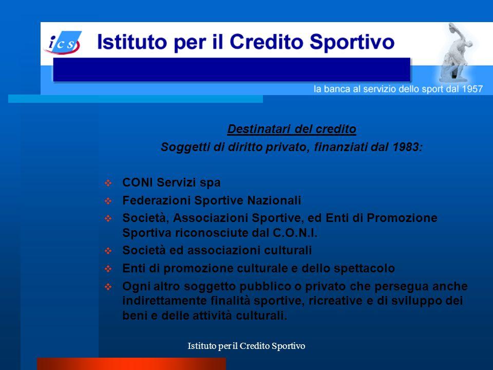 Istituto per il Credito Sportivo Condizioni dei finanziamenti Enti Diversi TASSO FISSO Mutui fino a 10 anni I.R.S.