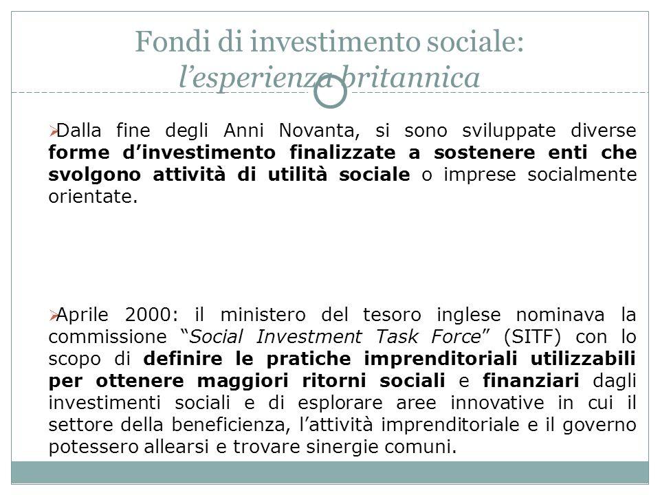 Fondi di investimento sociale: lesperienza britannica Dalla fine degli Anni Novanta, si sono sviluppate diverse forme dinvestimento finalizzate a sostenere enti che svolgono attività di utilità sociale o imprese socialmente orientate.