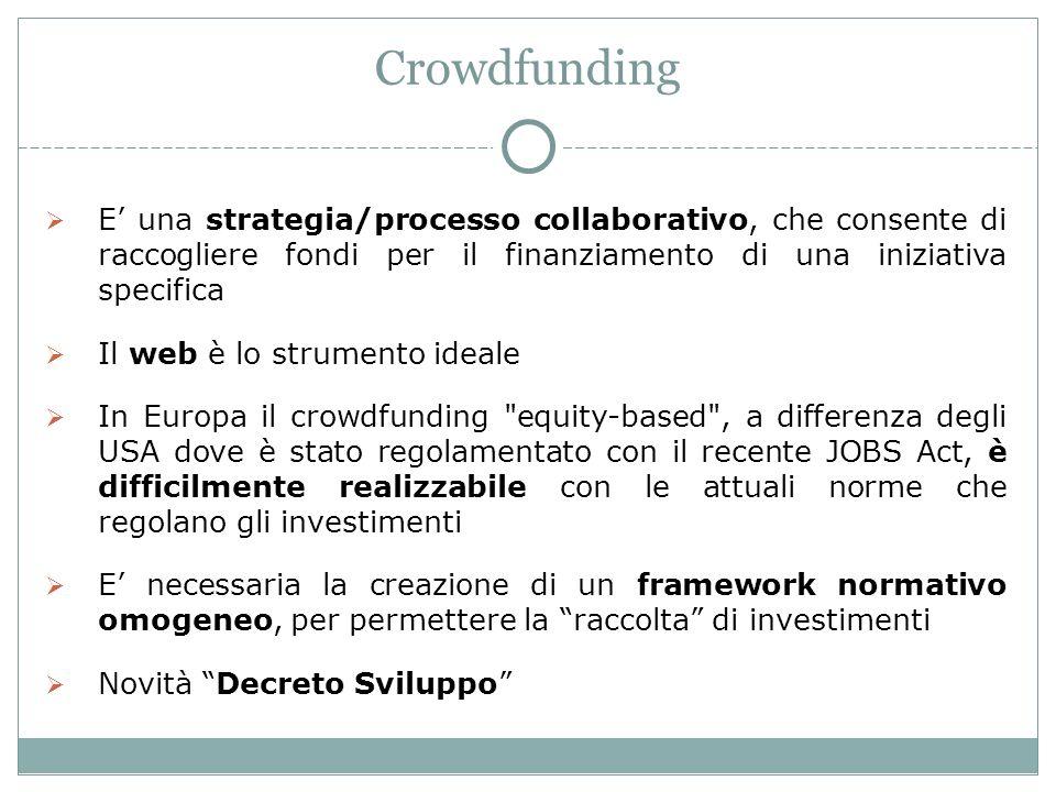 Crowdfunding E una strategia/processo collaborativo, che consente di raccogliere fondi per il finanziamento di una iniziativa specifica Il web è lo strumento ideale In Europa il crowdfunding equity-based , a differenza degli USA dove è stato regolamentato con il recente JOBS Act, è difficilmente realizzabile con le attuali norme che regolano gli investimenti E necessaria la creazione di un framework normativo omogeneo, per permettere la raccolta di investimenti Novità Decreto Sviluppo