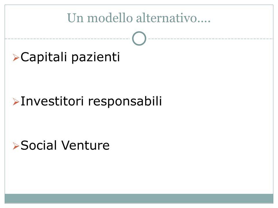 Un modello alternativo…. Capitali pazienti Investitori responsabili Social Venture