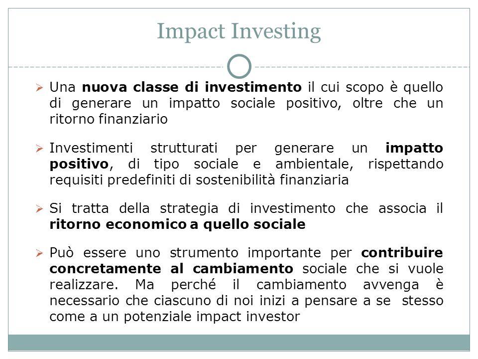 Impact Investing Una nuova classe di investimento il cui scopo è quello di generare un impatto sociale positivo, oltre che un ritorno finanziario Investimenti strutturati per generare un impatto positivo, di tipo sociale e ambientale, rispettando requisiti predefiniti di sostenibilità finanziaria Si tratta della strategia di investimento che associa il ritorno economico a quello sociale Può essere uno strumento importante per contribuire concretamente al cambiamento sociale che si vuole realizzare.