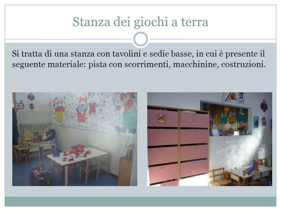 Stanza dei giochi a terra Si tratta di una stanza con tavolini e sedie basse, in cui è presente il seguente materiale: pista con scorrimenti, macchinine, costruzioni.