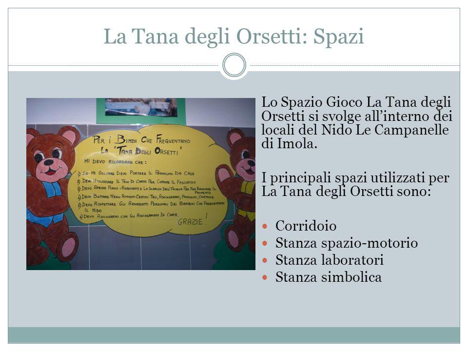 La Tana degli Orsetti: Spazi Lo Spazio Gioco La Tana degli Orsetti si svolge allinterno dei locali del Nido Le Campanelle di Imola.