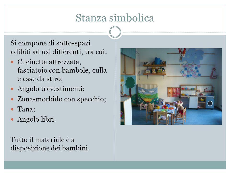 Stanza simbolica Si compone di sotto-spazi adibiti ad usi differenti, tra cui: Cucinetta attrezzata, fasciatoio con bambole, culla e asse da stiro; An