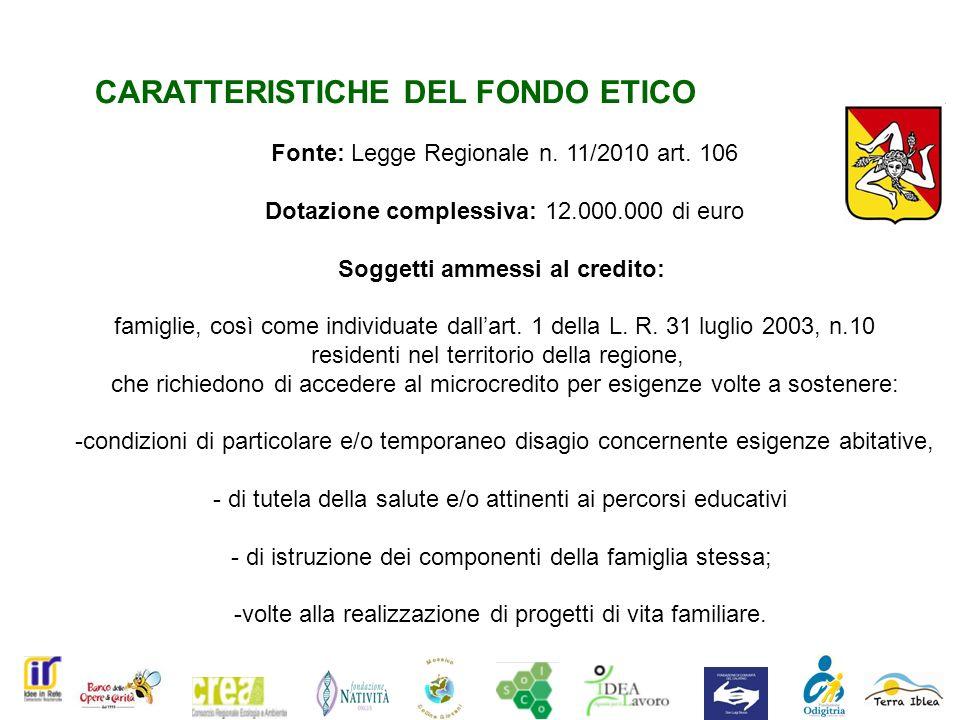 CARATTERISTICHE DEL FONDO ETICO Fonte: Legge Regionale n.