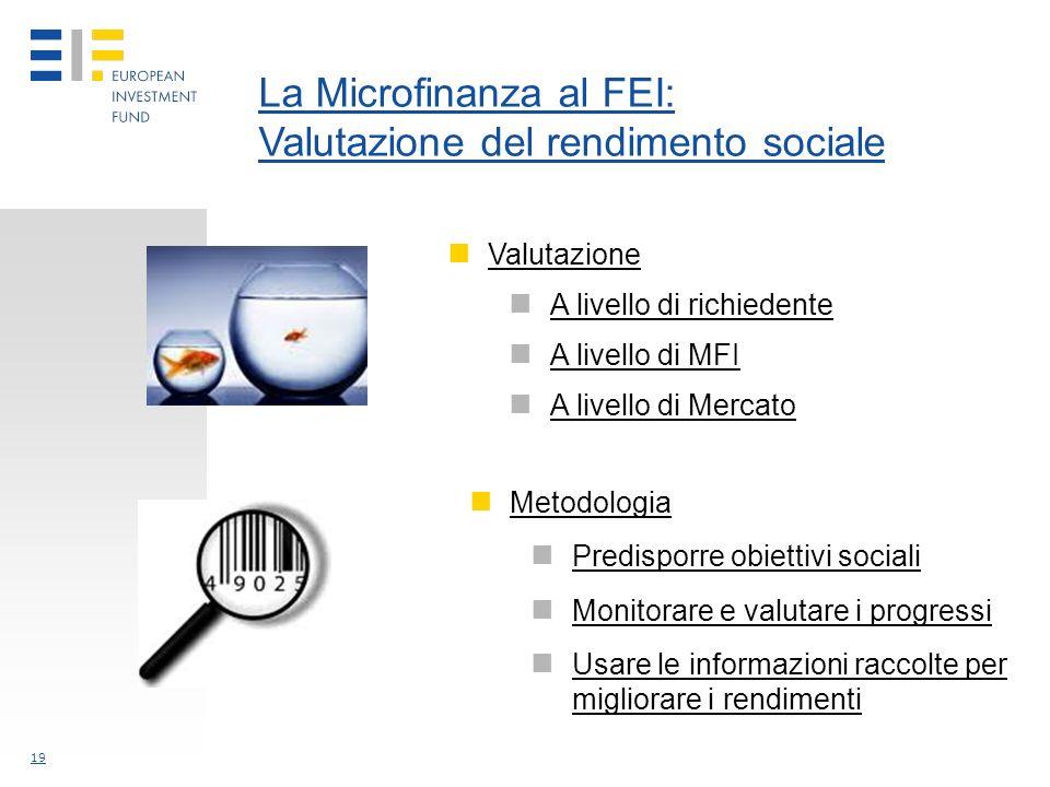 19 La Microfinanza al FEI: Valutazione del rendimento sociale Valutazione A livello di richiedente A livello di MFI A livello di Mercato Metodologia Predisporre obiettivi sociali Monitorare e valutare i progressi Usare le informazioni raccolte per migliorare i rendimenti