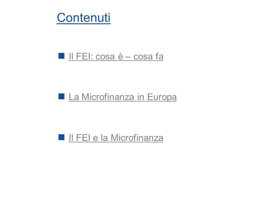 Contenuti Il FEI: cosa è – cosa fa La Microfinanza in Europa Il FEI e la Microfinanza