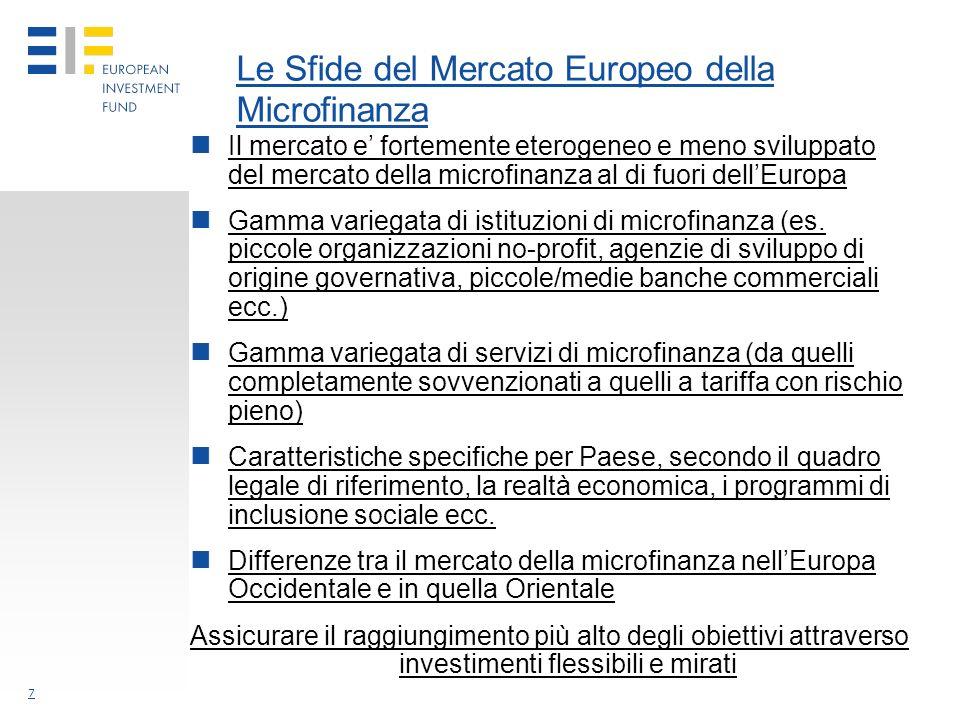 7 Le Sfide del Mercato Europeo della Microfinanza Il mercato e fortemente eterogeneo e meno sviluppato del mercato della microfinanza al di fuori dellEuropa Gamma variegata di istituzioni di microfinanza (es.