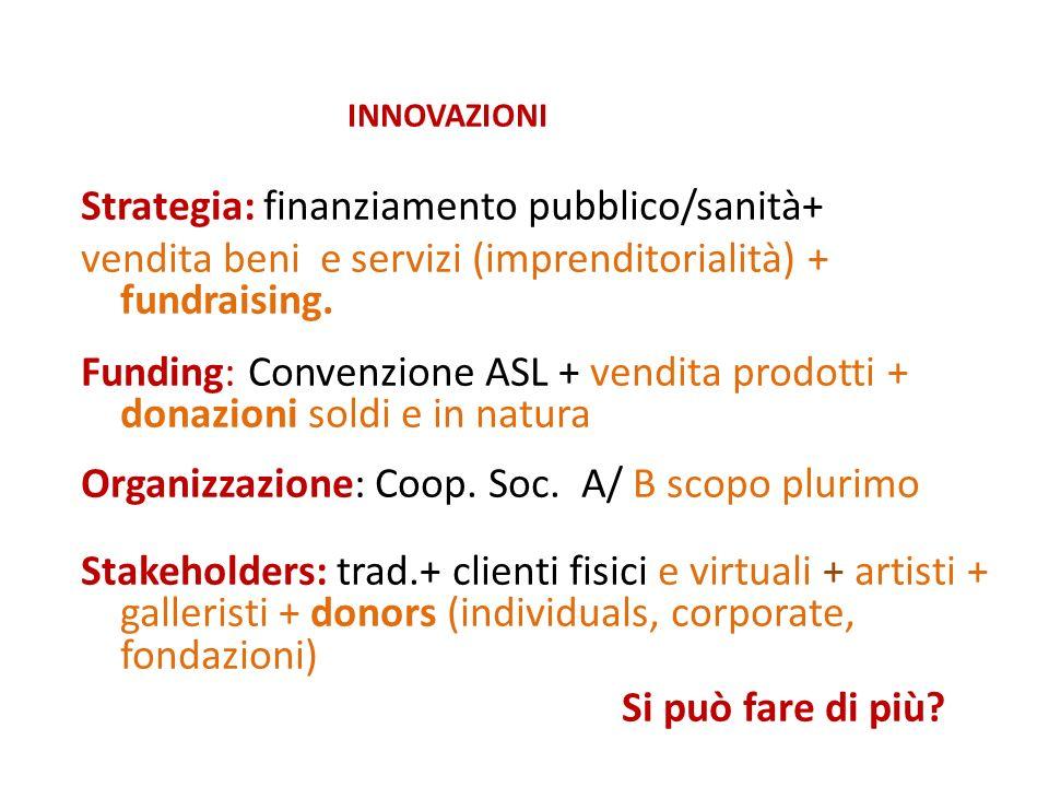 INNOVAZIONI Strategia: finanziamento pubblico/sanità+ vendita beni e servizi (imprenditorialità) + fundraising.