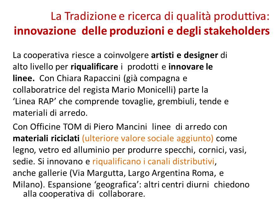 La Tradizione e ricerca di qualità produttiva: innovazione delle produzioni e degli stakeholders La cooperativa riesce a coinvolgere artisti e designer di alto livello per riqualificare i prodotti e innovare le linee.