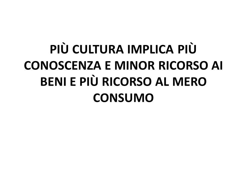 PIÙ CULTURA IMPLICA PIÙ CONOSCENZA E MINOR RICORSO AI BENI E PIÙ RICORSO AL MERO CONSUMO