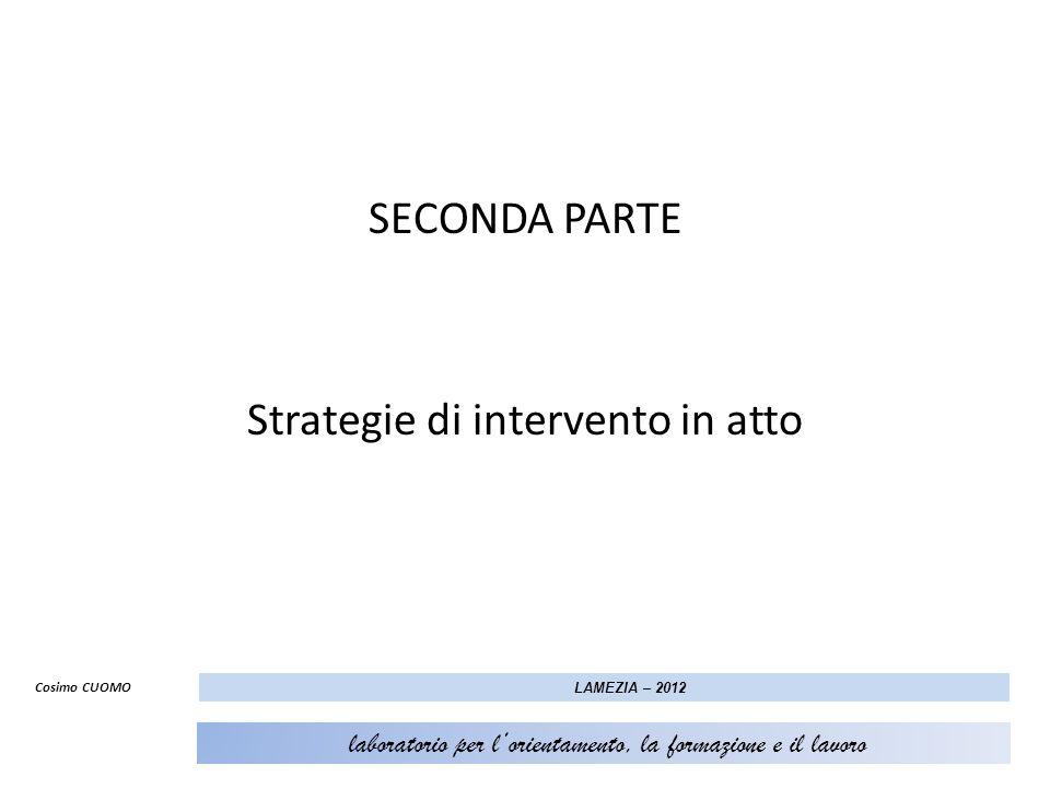 SECONDA PARTE Strategie di intervento in atto Cosimo CUOMO LAMEZIA – 2012 laboratorio per lorientamento, la formazione e il lavoro