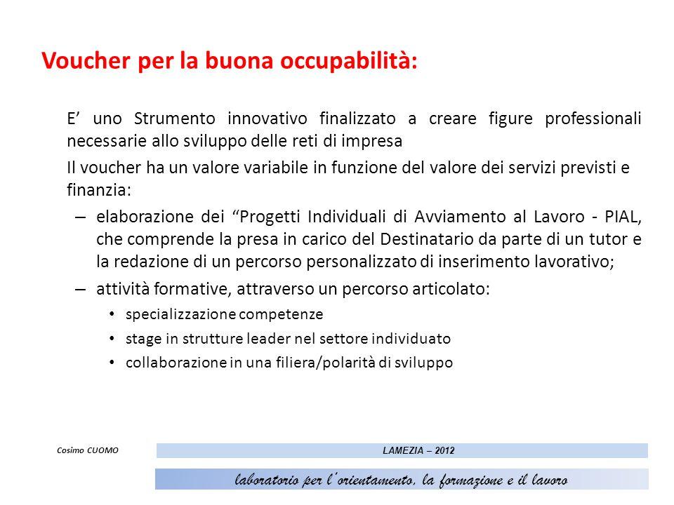 Voucher per la buona occupabilità: E uno Strumento innovativo finalizzato a creare figure professionali necessarie allo sviluppo delle reti di impresa