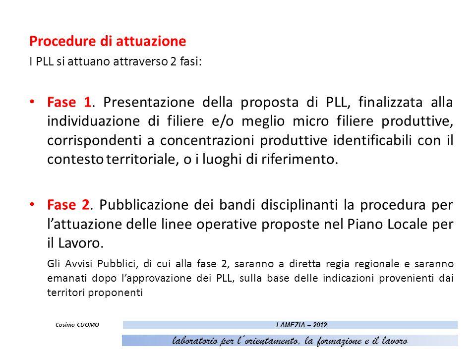 Procedure di attuazione I PLL si attuano attraverso 2 fasi: Fase 1. Presentazione della proposta di PLL, finalizzata alla individuazione di filiere e/