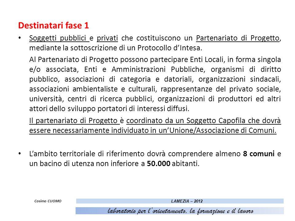 Destinatari fase 1 Soggetti pubblici e privati che costituiscono un Partenariato di Progetto, mediante la sottoscrizione di un Protocollo dIntesa. Al