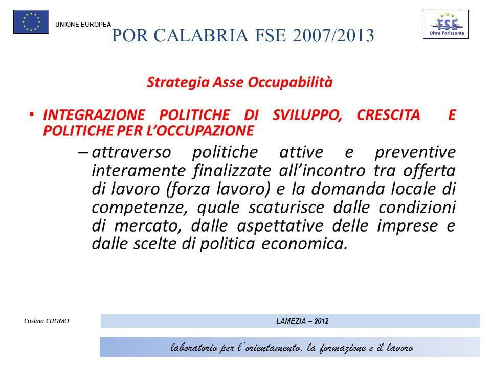 POR CALABRIA FSE 2007/2013 UNIONE EUROPEA STRATEGIA ASSE II – OCCUPABILITA: LINEE OPERATIVE AZIONI DI SISTEMA POLITICHE PER LOCCUPAZIONE MANOVRA ANTICRISI CENTRALITA DEL TERRITORIO-SISTEMI LOCALI FILIERE LOCALI CON POTENZIALITÀ DI SVILUPPO PIANI LOCALI PER IL LAVORO POLICY (politiche per loccupazione strutturate) POLICY ( sperimentazione politiche TERRITORIALI per loccupazione ) Cosimo CUOMO LAMEZIA – 2012 laboratorio per lorientamento, la formazione e il lavoro