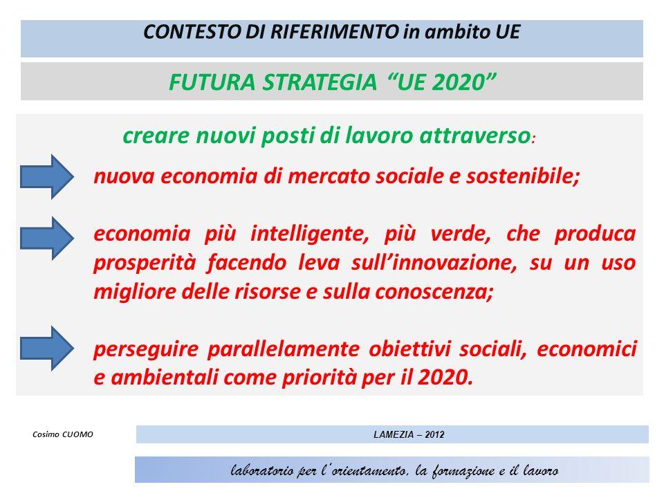 FUTURA STRATEGIA UE 2020 creare nuovi posti di lavoro attraverso : nuova economia di mercato sociale e sostenibile; economia più intelligente, più ver