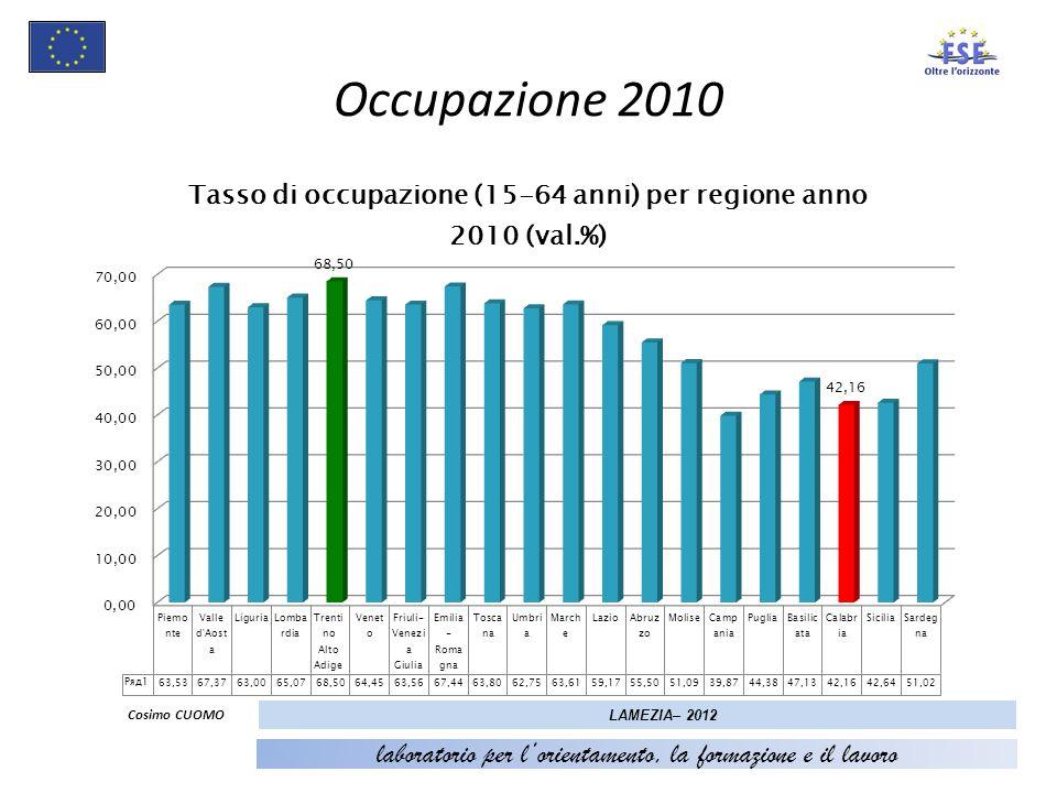 8 Occupazione 2010 Cosimo CUOMO LAMEZIA– 2012 laboratorio per lorientamento, la formazione e il lavoro