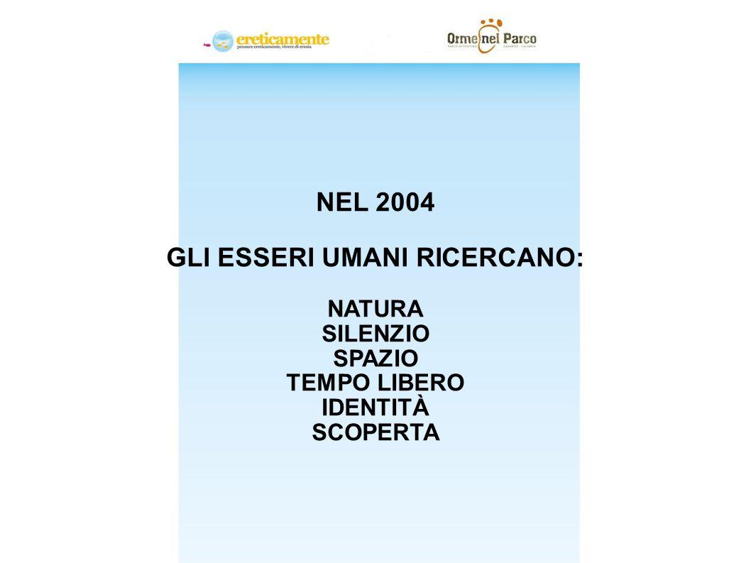 TRENDS NEL 2004 GLI ESSERI UMANI RICERCANO: NATURA SILENZIO SPAZIO TEMPO LIBERO IDENTITÀ SCOPERTA