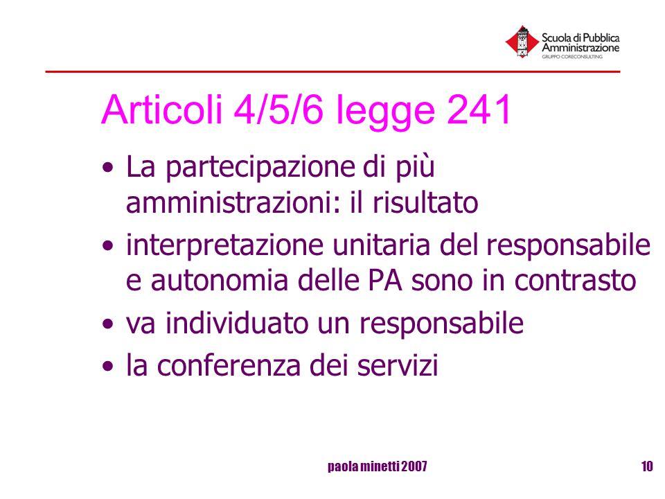 paola minetti 200710 Articoli 4/5/6 legge 241 La partecipazione di più amministrazioni: il risultato interpretazione unitaria del responsabile e auton