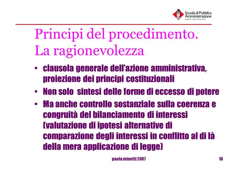 paola minetti 200716 Principi del procedimento. La ragionevolezza clausola generale dellazione amministrativa, proiezione dei principi costituzionali
