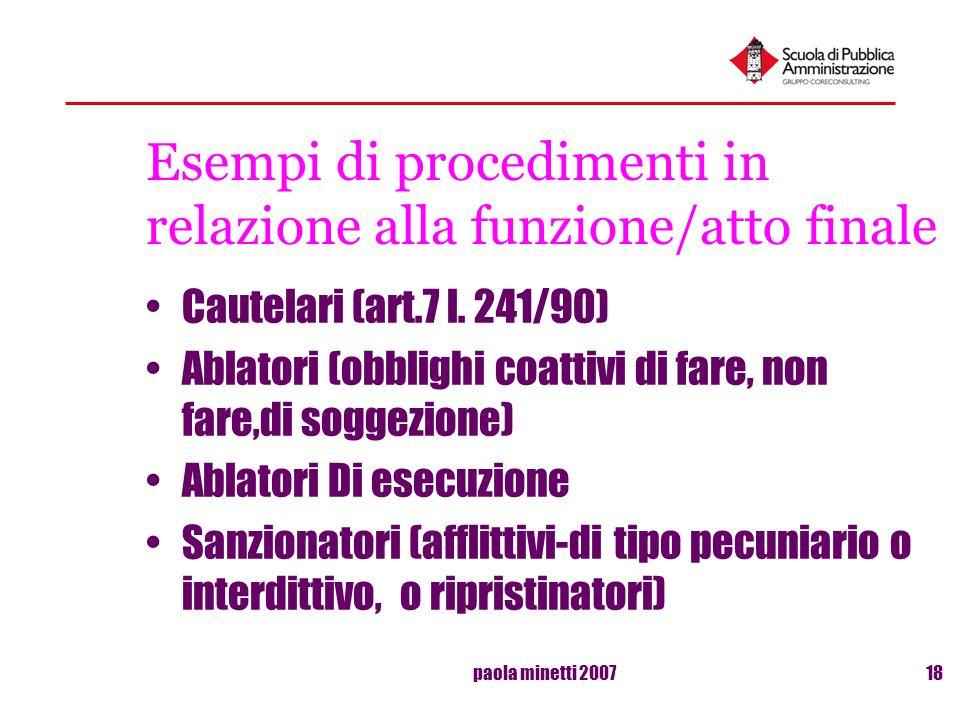 paola minetti 200718 Esempi di procedimenti in relazione alla funzione/atto finale Cautelari (art.7 l. 241/90) Ablatori (obblighi coattivi di fare, no