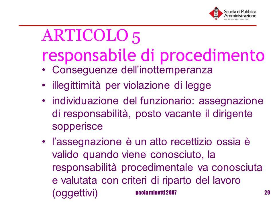 paola minetti 200729 ARTICOLO 5 responsabile di procedimento Conseguenze dellinottemperanza illegittimità per violazione di legge individuazione del f
