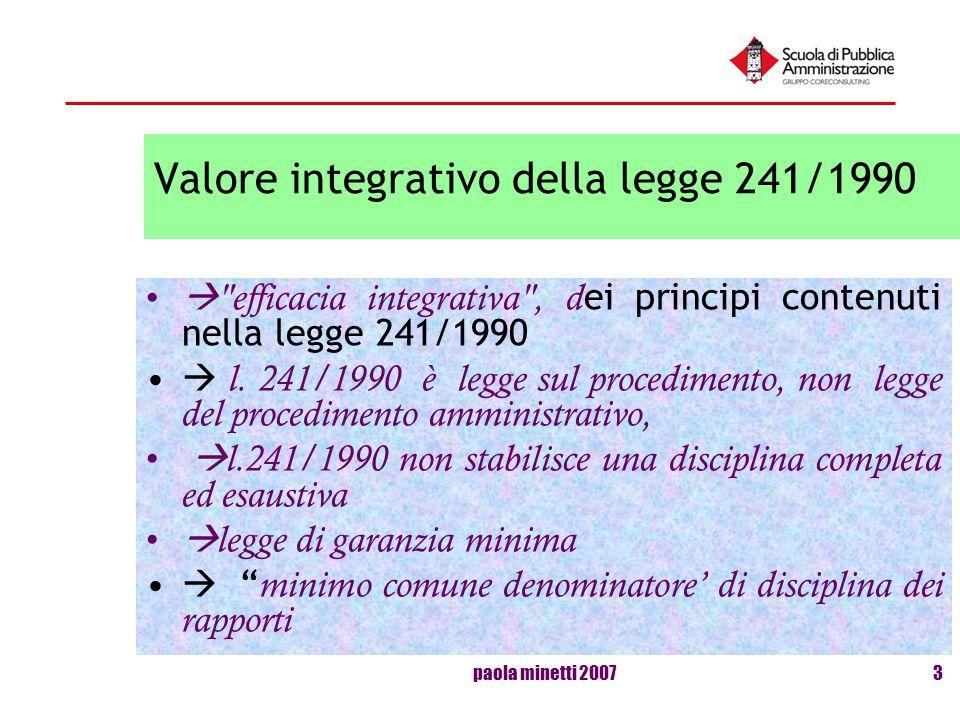 paola minetti 20073 Valore integrativo della legge 241/1990