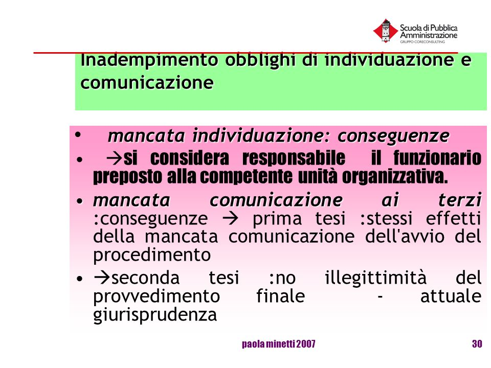 paola minetti 200730 Inadempimento obblighi di individuazione e comunicazione mancata individuazione: conseguenze si considera responsabile il funzion