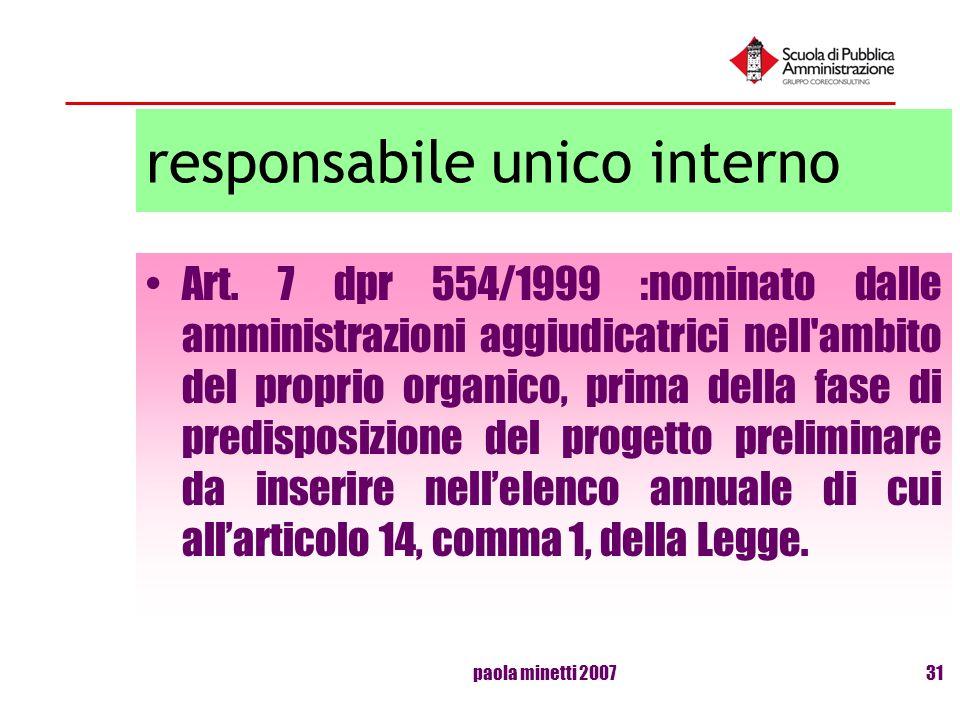 paola minetti 200731 responsabile unico interno Art. 7 dpr 554/1999 :nominato dalle amministrazioni aggiudicatrici nell'ambito del proprio organico, p