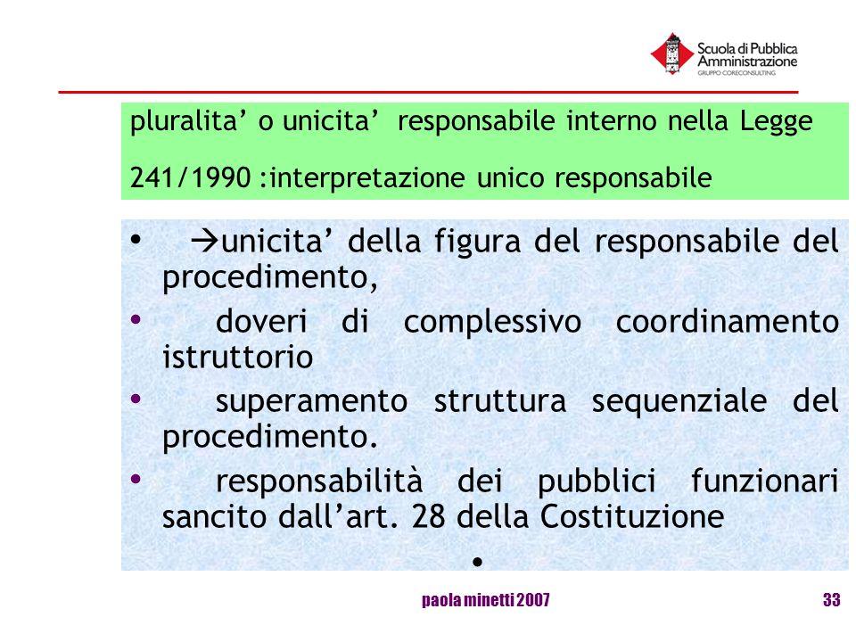 paola minetti 200733 pluralita o unicita responsabile interno nella Legge 241/1990 :interpretazione unico responsabile unicita della figura del respon