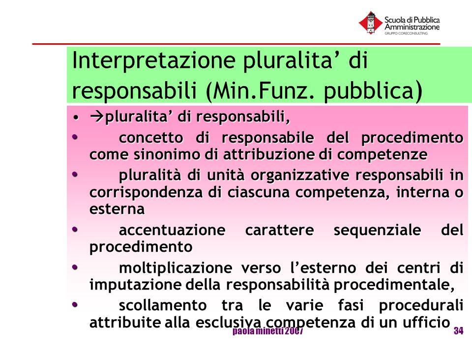 paola minetti 200734 Interpretazione pluralita di responsabili (Min.Funz. pubblica ) pluralita di responsabili, pluralita di responsabili, concetto di
