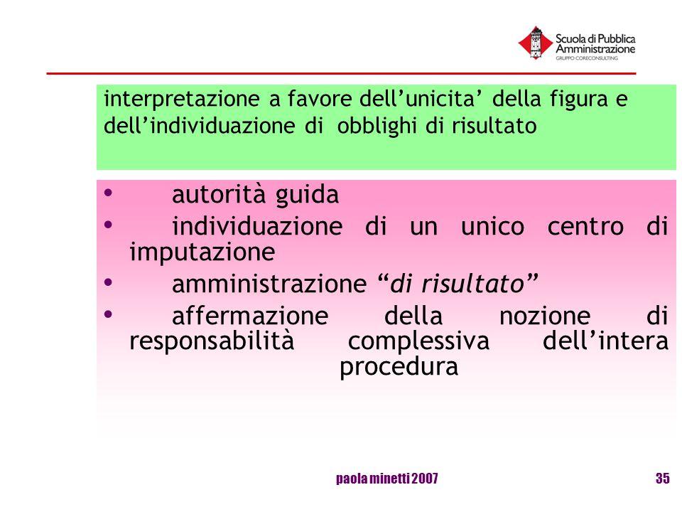 paola minetti 200735 interpretazione a favore dellunicita della figura e dellindividuazione di obblighi di risultato autorità guida individuazione di