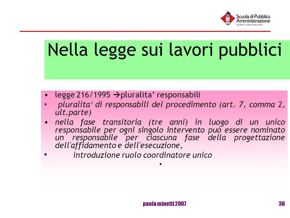 paola minetti 200736 Nella legge sui lavori pubblici legge 216/1995 pluralita responsabili pluralita di responsabili del procedimento (art. 7, comma 2